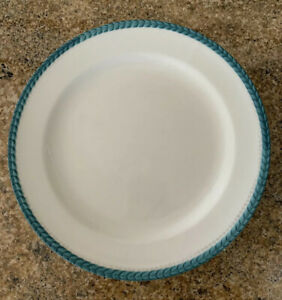 Anthropologie-Salad-Plate-White-Turquoise-Teal-Gold-Trim