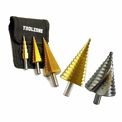 Step Drill Cone Cutter Set 3pc HSS 4-32mm TE123 Work Use DIY Drill Tool Set