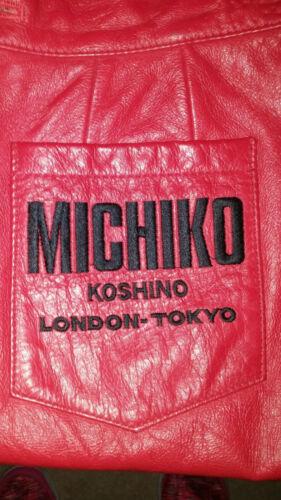 Michiko Koshino London Red Leather Pencil Skirt