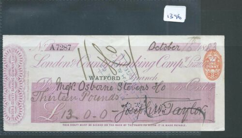 wbc. - CHEQUE - CH1396- USED -1883/85- LONDON & COUNTY BANKING, WATFORD