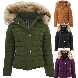 1d354dcd37479 Womens Padded Detachable Fur Lined Hood Popper Zipper Puffer Jacket ...