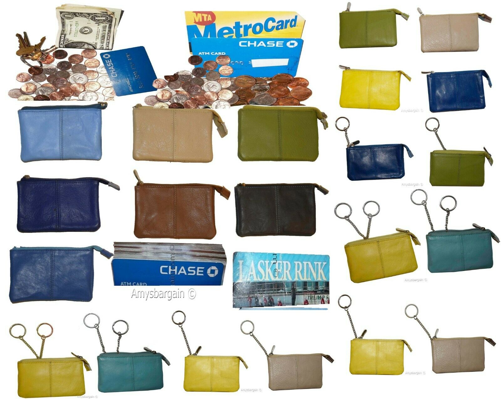 Lot of 14. Change Purse, Leather mini wallet, Card case, Zip coin case, key ring