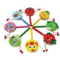 2 Tlg Kinder Baby Trommel Rasseln Klingel Musical Shaker Spielzeug Handglocke
