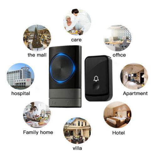 Wireless Door Bell Doorbell 300M Waterproof Wall Plug In Loud 45 Chime LED Flash