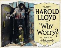 Harold Lloyd Why Worry Lobby Card Replica Photo Print 14 X 11