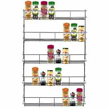 5 TIER CHROME Spice Herb JAR Rack Titolare per Cucina Porta Armadio di Stoccaggio Muro