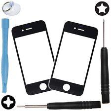 2 x Vitre Avant Noir iPhone 4 4S Ecran Façade Glass + Outils