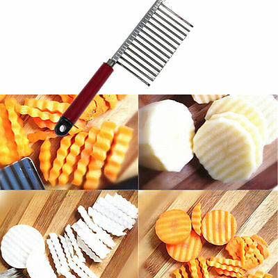 New Stainless Steel Potato Chip Vegetable Crinkle Wavy Cutter Blade Slicer