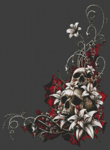 Blood Tears Cross Stitch Chart or Kit Skull Goth Fantasy