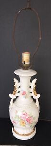 Vintage Ceramic Table Lamp Light With Flowers Off White Base 1950's