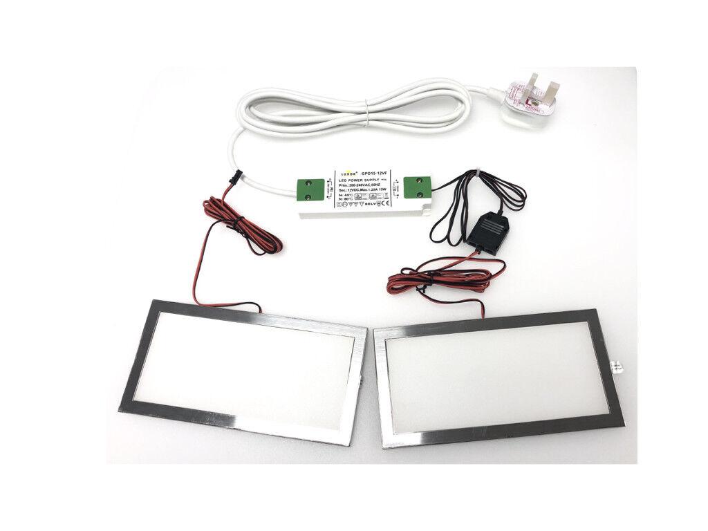 12v SLIM LED PANEL LIGHT KIT WARM Weiß FOR BEDROOM WHARDROBE