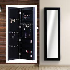 HOMCOM Vertical Wall Mount Mirrored Jewelry Cabinet Armoire Organizer Storage
