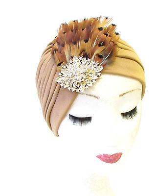 Tan Brown Gold Pheasant Feather Turban Headpiece Vtg Cloche 1940s Hat Hair 1341