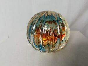 Caithness-paperweight-Optix-Gold-Aqua-Philip-Chaplain-NoR49810-spiral-design