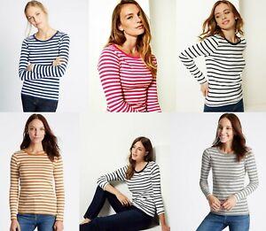 M-amp-S-Marks-Spencer-Damas-de-manga-larga-para-mujer-a-rayas-de-cuello-redondo-camiseta-Blusa