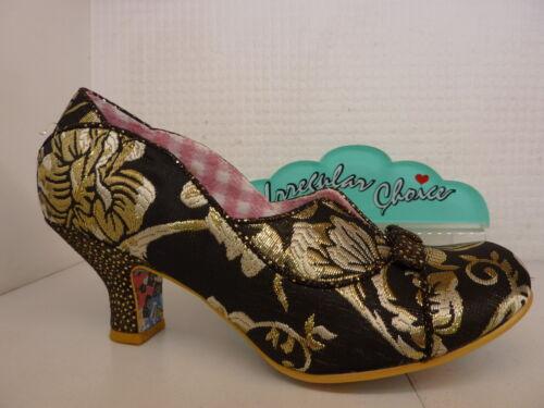 Irregular Choice Hold Up Noir Floral Or Femmes Bow Talon Bas Chaussure