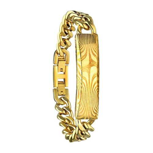 """Details about  /INOX 316L Gold Damascus Stainless Steel Cuban Curb ID Bracelet 8.5/"""""""