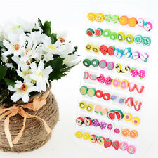 Wholesales Lot 36 Mix Fruit Fimo Earrings Studs Cute Colorful Slices Handmade