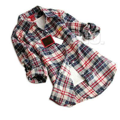 Women Elegnat Lapel Shirt Checks Flannel Tartan Tops Flannel Caroset Plaid Shirt