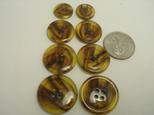 New Rimed Faux Amber//Brown//Tortoise Shell Buttons  1 inch 7//8 13//16 5//8 T4