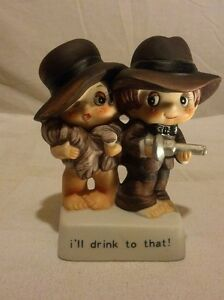 "Vintage Man & Woman ""I'll Drink To That"" Ceramic Figurine"