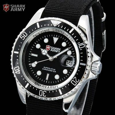 SHARK ARMY Mens Black Nylon Date Military Luminous Sport Quartz Watch + Gift Box