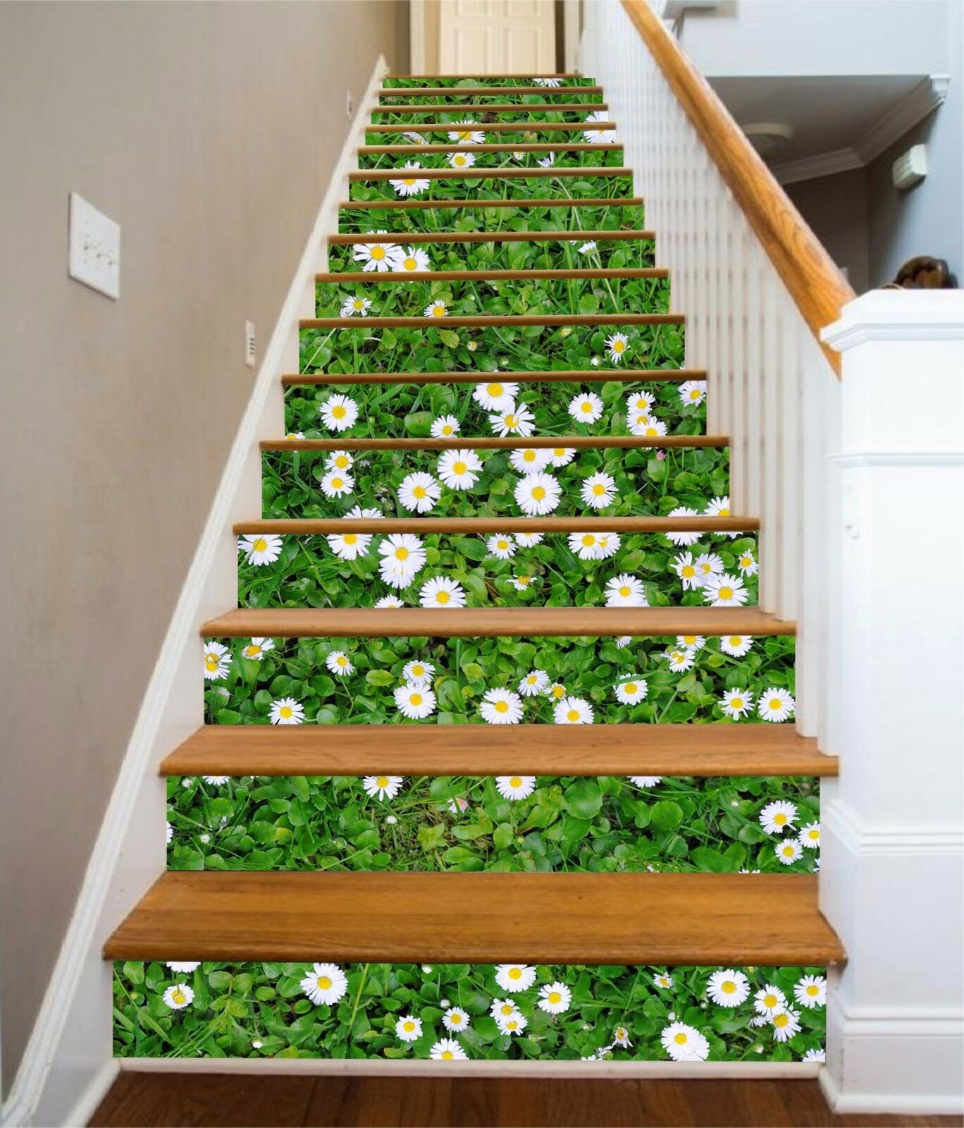 3D Grün lawn 6 Stair Risers Decoration Photo Mural Vinyl Decal Wallpaper UK