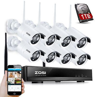 ZOSI 8CH 960P Funk NVR Überwachungssystem WLAN Überwachungskamera Alarmgeräte1TB
