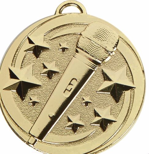 Microphone Medals 50 mm in 3 Colours  Free Engraving up to 30 Letters Ribbon
