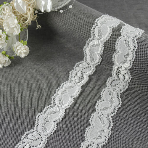 2 YARDS Vintage Elasticated Stretch embroidered Lace Trim headband Shabby Chic