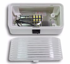 LED RV Porch Light rectangle clear lens camper RV trailer white with switch