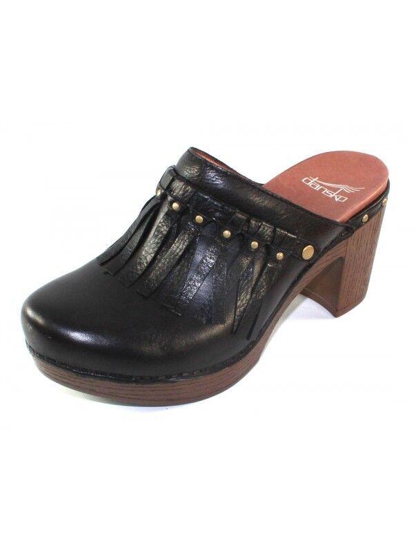 Dansko Professional Sabots Fringed mules chaussures noire petit compensé cloutées Escarpins 38