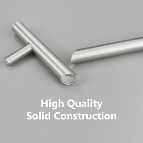 "Solid Stainless Steel Brushed Nickel T Bar Kitchen Cabinet Handles Pulls 2/""-24/"""