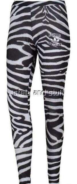 adidas Originals Zebra Leggings Tight Yoga Running Gym Trefoil Pants Women Sz M