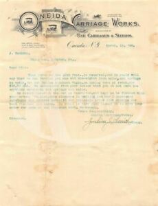 Oneida Carriage Works New York Antique Graphic Advertising Letter Price List 189