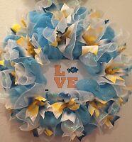 Handmade Kazakhstan Wreath Kazak Russia Mesh Ribbon Blue Yellow Front Door