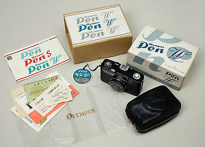 Olympus PEN W Black half-frame Double Boxed camera Outfit RARE