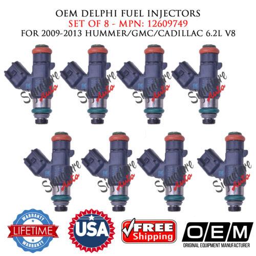 8X OEM DELPHI Fuel Injectors for 2009-2013 HUMMER//GMC//CADILLAC 6.2L V8 #12609749
