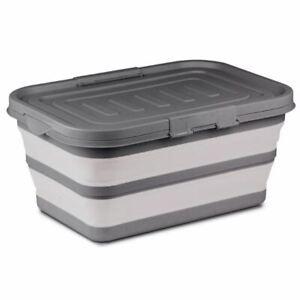 Kampa-Storage-Box-Grey-Collapsible-Camping-Storage-Caravan
