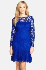 NWT-Adrianna-Papell-Embroidered-Mesh-Trumpet-Hem-Dress-Size-4