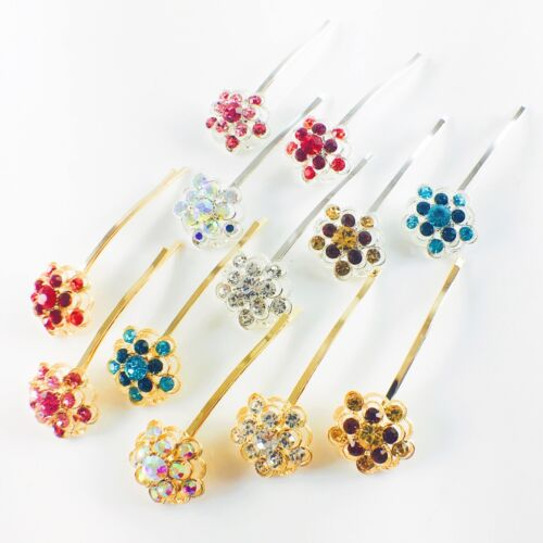 USA Bobby Pin Rhinestone Crystal Hair Clip Hairpin Jeweled Gold Blue Charming 3