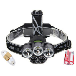 80000LM-5x-LED-Headlamp-Headlight-Rechargeable-Light-USB-Cable-18650-Battery