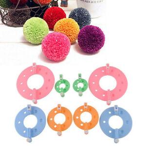 8pcs-4-Sizes-Essential-Pompom-Maker-Fluff-Ball-Weaver-Needle-Knitting-Tool-New