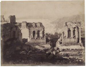 Taormina Théâtre Greco Sicilia Italia Fotografia Vintage Albumina