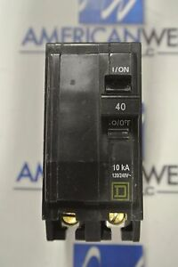 Square D QO240 NEW 40 Amp 2 Pole 240 Volt Circuit Breaker Yellow