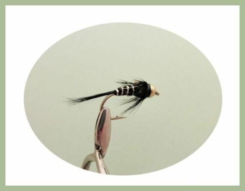 Mixed 10//12 Fishing Flies Goldhead Trout Flies 18 Pack Olive /& Black GH nymphs