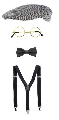 Peaky Blinders 20/'s Tommy Shelby Fancy Dress Costume Hat Bowtie Glasses /& Braces