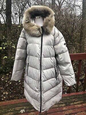 New $295 Gray Heavy Down Extra Long Winter Coat Faux Fur And Hood London Fog