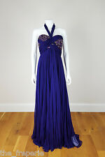 *MARCHESA* COUTURE STRAPLESS SILK CHIFFON EMBELLISHED GOWN (UK 8)