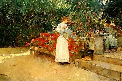 BREAKFAST TIME SET TABLE IN THE GARDEN 1887 PAINTING BY HANNA PAULI REPRO